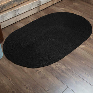 VHC Brands Black Jute Rug Oval 36x60