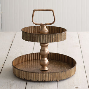 Corrugated Two-Tier Metal Tray