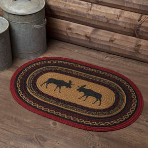 VHC Brands Cumberland Stenciled Moose Jute Rug Oval 20x30