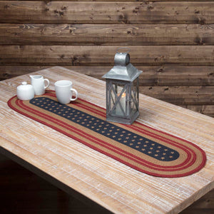 VHC Brands | Americana Kitchen & Tabletop Decor | Liberty Stars Flag Jute Runner Oval 13x48