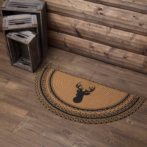 VHC Brands Trophy Mount Jute Rug Half Circle 16.5x33