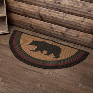 VHC Brands Wyatt Stenciled Bear Jute Rug Half Circle 16.5x33