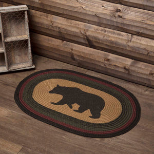 VHC Brands Wyatt Stenciled Bear Jute Rug Oval 20x30