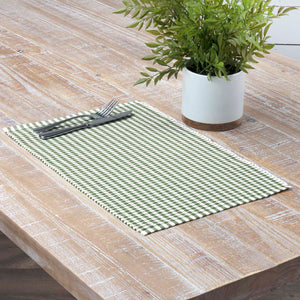 VHC Brands | Farmhouse Kitchen & Tabletop Decor | Tara Green Ribbed Placemat Set of 6 12x18