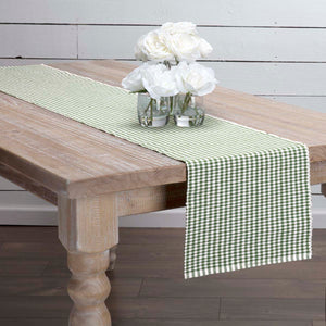 VHC Brands | Farmhouse Kitchen & Tabletop Decor | Tara Green Ribbed Runner 13x72