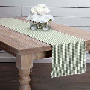 VHC Brands | Farmhouse Kitchen & Tabletop Decor | Tara Green Ribbed Runner 13x90
