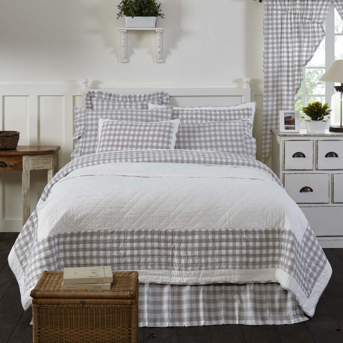 Vhc Brands Farmhouse Bedding Pillows Cotton Batting Annie Buffalo Grey Check Luxury King Quilt 120wx105l