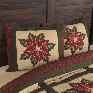 VHC Brands Seasonal | Bedding & Pillows | National Quilt Museum Poinsettia Block Standard Sham 21x27