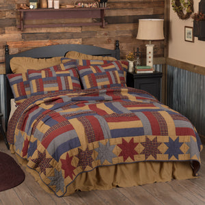 VHC Brands Primitive | Bedding & Pillows | National Quilt Museum Kindred Stars and Bars Twin Quilt 68Wx86L