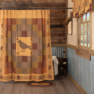 VHC Brands | Primitive Bath | Heritage Farms Applique Crow and Star Shower Curtain 72x72