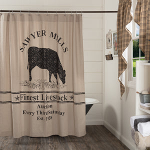 VHC Brands | Farmhouse Bath | Sawyer Mill Charcoal Cow Shower Curtain 72x72