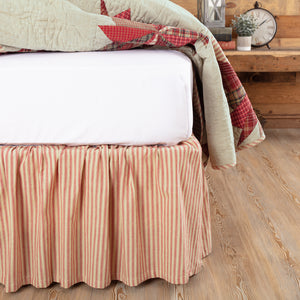 VHC Brands Farmhouse | Bedding & Pillows | Ozark Red Ticking Stripe Queen Bed Skirt 60x80x16