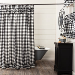 VHC Brands | Farmhouse Bath | Annie Buffalo Black Check Ruffled Shower Curtain 72x72