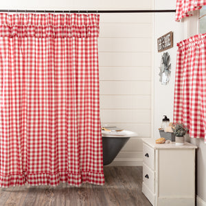 VHC Brands | Farmhouse Bath | Annie Buffalo Red Check Ruffled Shower Curtain 72x72