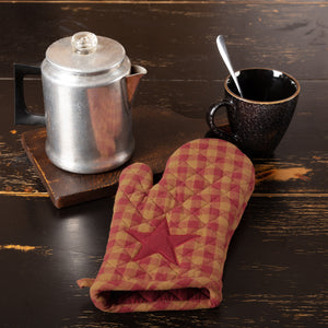 VHC Brands | Primitive Kitchen & Tabletop Decor | Burgundy Star Oven Mitt