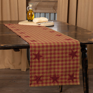 VHC Brands | Primitive Kitchen & Tabletop Decor | Burgundy Star Runner Woven 13x48