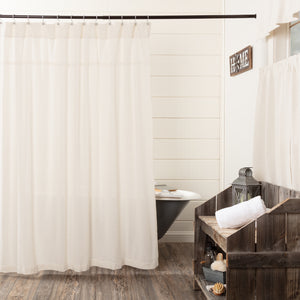 VHC Brands | Farmhouse Bath | Burlap Antique White Shower Curtain 72x72