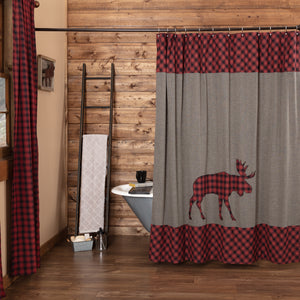 VHC Brands | Rustic Bath | Cumberland Moose Applique Shower Curtain 72x72