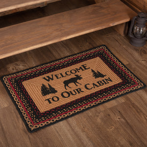 VHC Brands Cumberland Stenciled Moose Jute Rug Rect Welcome to the Cabin 20x30