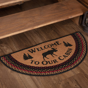 VHC Brands Cumberland Stenciled Moose Jute Rug Half Circle Welcome to the Cabin 16.5x33