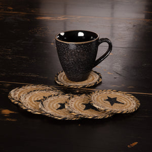VHC Brands | Primitive Kitchen & Tabletop Decor | Kettle Grove Jute Coaster Stencil Star Set of 6