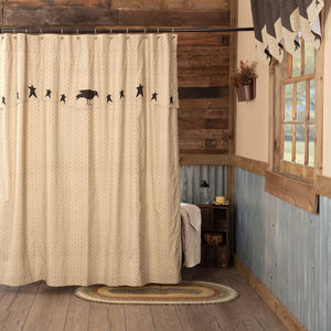 VHC Brands | Primitive Bath | Kettle Grove Shower Curtain with Attached Applique Crow and Star Valance 72x72