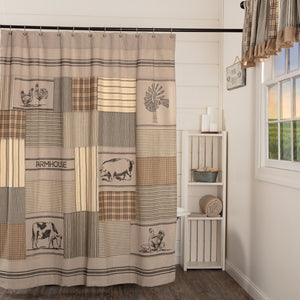 VHC Brands | Farmhouse Bath | Sawyer Mill Charcoal Stenciled Patchwork Shower Curtain 72x72