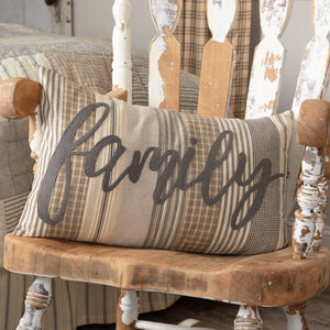 VHC Brands Farmhouse | Bedding & Pillows | Sawyer Mill Charcoal Family Pillow 14x22