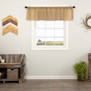 VHC Brands Farmhouse |  Window Treatments | Tobacco Cloth Khaki Valance Fringed 16x60