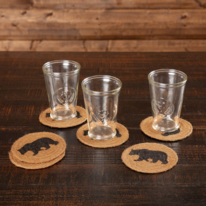 VHC Brands | Rustic & Lodge Kitchen & Tabletop Decor | Wyatt Stenciled Bear Jute Coaster Set of 6