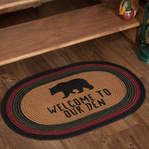 VHC Brands Wyatt Stenciled Bear Jute Rug Oval Welcome to Our Den 20x30