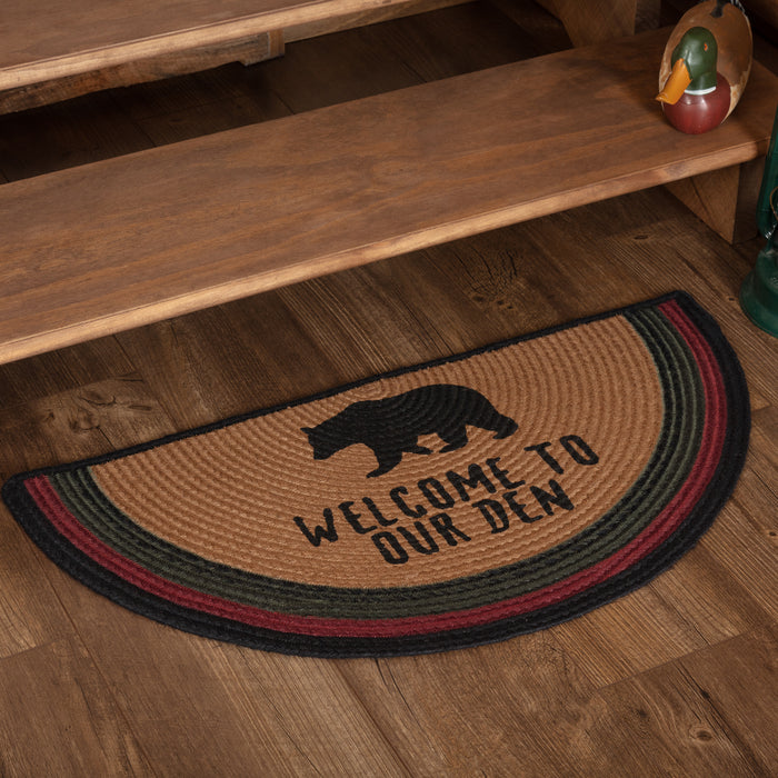 Wyatt Stenciled Bear Jute Rug Half Circle Welcome to Our Den 16.5x33