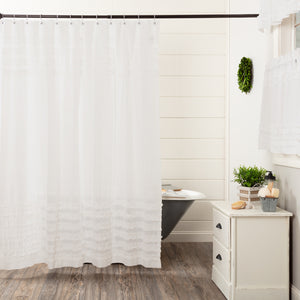 VHC Brands | Farmhouse Bath | White Ruffled Sheer Petticoat Shower Curtain 72x72