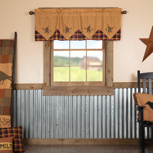 VHC Brands Primitive |  Window Treatments | Heritage Farms Primitive Star and Pip Valance Layered 20x60