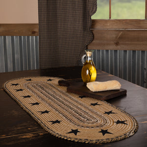 VHC Brands | Primitive Kitchen & Tabletop Decor | Kettle Grove Jute Runner Stencil Stars Border 13x36