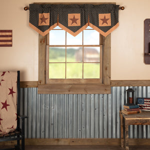 VHC Brands Primitive |  Window Treatments | Patriotic Patch Star Block Valance Pleated 20x60