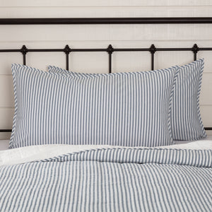 VHC Brands Farmhouse | Bedding & Pillows | Sawyer Mill Blue Ticking Stripe King Sham 21x37