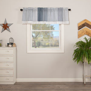 VHC Brands Farmhouse |  Window Treatments | Sawyer Mill Blue Patchwork Valance 19x60
