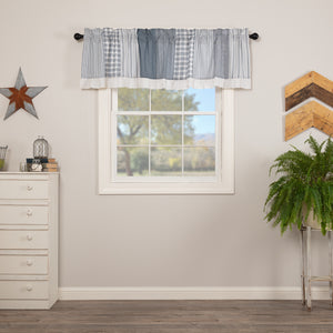 VHC Brands Farmhouse |  Window Treatments | Sawyer Mill Blue Patchwork Valance 19x72