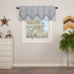 VHC Brands Farmhouse |  Window Treatments | Sawyer Mill Blue Valance Layered 20x60