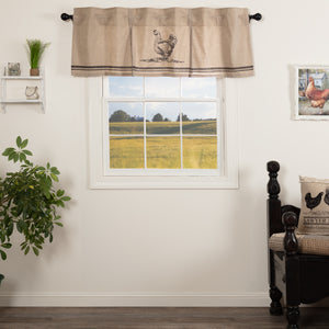 VHC Brands Farmhouse |  Window Treatments | Sawyer Mill Charcoal Chicken Valance Pleated 20x60
