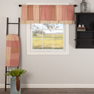 VHC Brands Farmhouse |  Window Treatments | Sawyer Mill Red Patchwork Valance 19x60