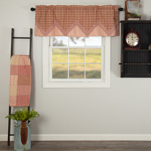 VHC Brands Farmhouse |  Window Treatments | Sawyer Mill Red Valance Layered 20x60