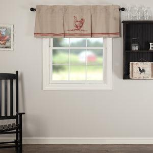 VHC Brands Farmhouse |  Window Treatments | Sawyer Mill Red Chicken Valance Pleated 20x60