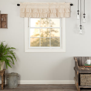 VHC Brands Farmhouse |  Window Treatments | Simple Life Flax Natural Ruffled Valance 16x60