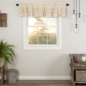 VHC Brands Farmhouse |  Window Treatments | Simple Life Flax Natural Ruffled Valance 16x72