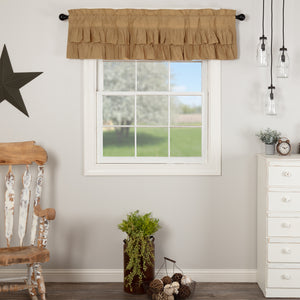 VHC Brands Farmhouse |  Window Treatments | Simple Life Flax Khaki Ruffled Valance 16x60