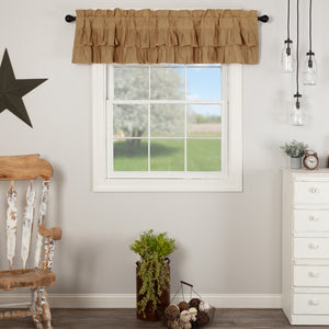 VHC Brands Farmhouse |  Window Treatments | Simple Life Flax Khaki Ruffled Valance 16x72