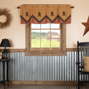 VHC Brands Primitive |  Window Treatments | Stratton Primitive Star Valance Layered 20x60