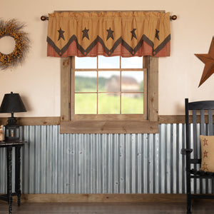 VHC Brands Primitive |  Window Treatments | Stratton Primitive Star Valance Layered 20x72